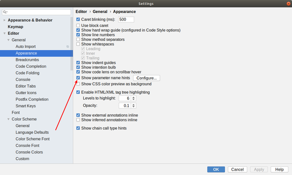 Type Hints Setting in Android Studio